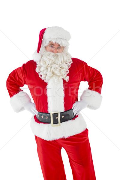 Vrolijk kerstman handen heupen witte portret Stockfoto © wavebreak_media