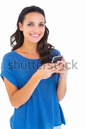 Csinos barna hajú küldés szöveg fehér boldog Stock fotó © wavebreak_media