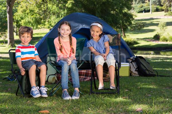 Gelukkig broers en zussen camping reis boom Stockfoto © wavebreak_media