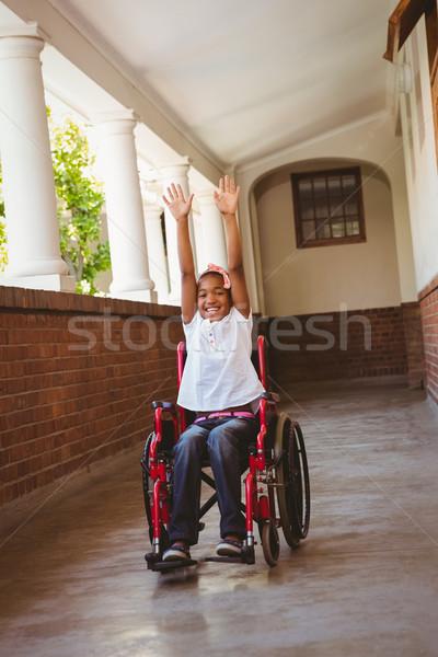 Dziewczyna wózek szkoły korytarz portret cute Zdjęcia stock © wavebreak_media