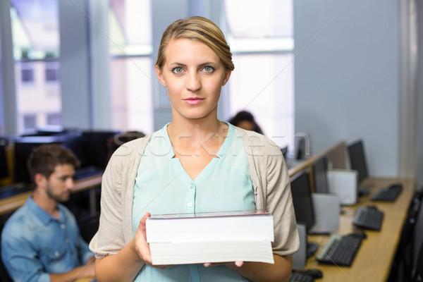 Foto stock: Feminino · professor · livros · computador · classe