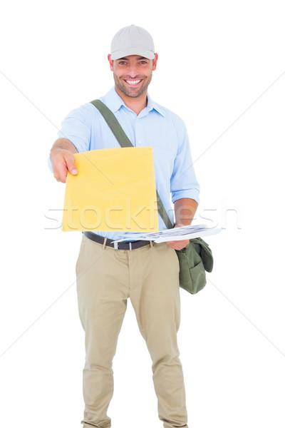 Carteiro carta branco retrato feliz homem Foto stock © wavebreak_media