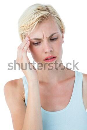 Mulher atraente dor de cabeça branco mulher cabeça bastante Foto stock © wavebreak_media