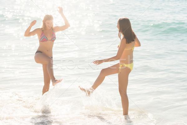 Stockfoto: Gelukkig · vrienden · water · samen · strand