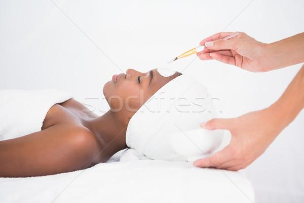 Csinos nő kezelés gyógyfürdő nő hotel fekete Stock fotó © wavebreak_media