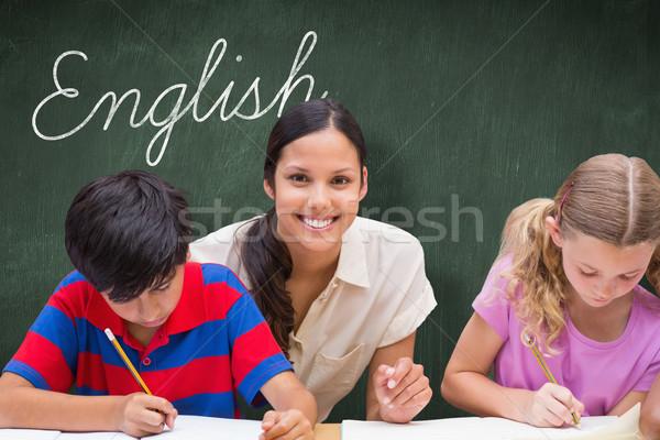 Stok fotoğraf: İngilizce · yeşil · kara · tahta · kelime · güzel · öğretmen