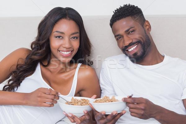 пару кровать вместе еды зерновых Сток-фото © wavebreak_media
