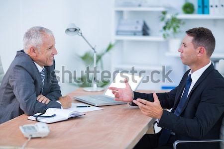 Kettő üzletemberek néz kristálygömb iroda pénz Stock fotó © wavebreak_media
