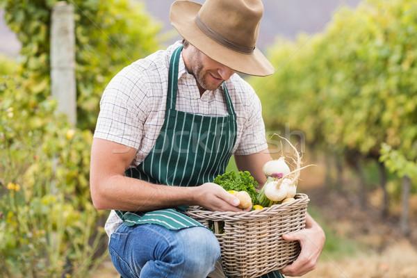 Fiatal boldog gazda tart kosár zöldségek Stock fotó © wavebreak_media