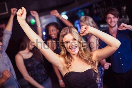 Foto stock: Mujer · multitud · noche · vista