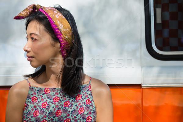 Vrouw kampeerder van park nadenkend Stockfoto © wavebreak_media
