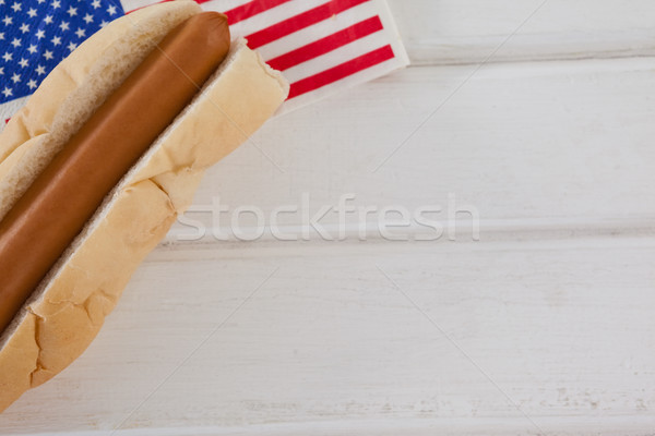 Hot dog Amerikaanse vlag witte houten tafel voedsel Stockfoto © wavebreak_media