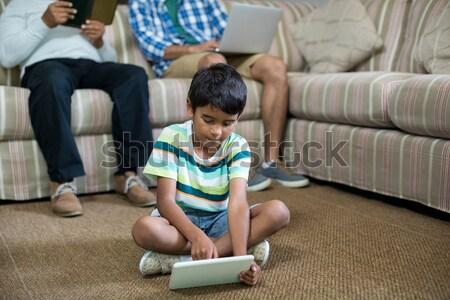 Familie ontspannen home woonkamer computer liefde Stockfoto © wavebreak_media