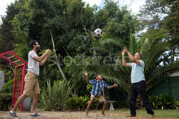 Family playing with soccer ball at park Stock photo © wavebreak_media