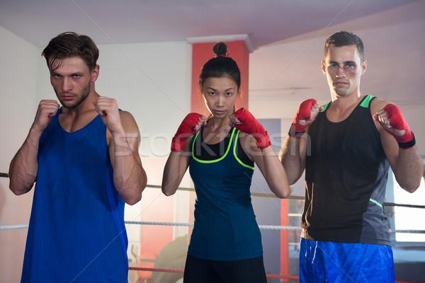 Portré női férfi boxeralsó áll harcol Stock fotó © wavebreak_media