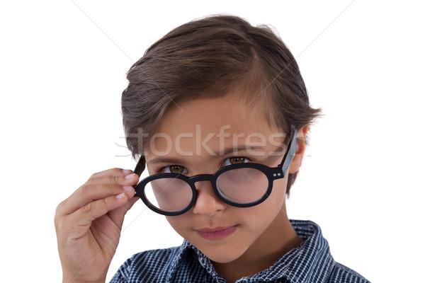 Portre erkek gözlük beyaz çocuk konuşma Stok fotoğraf © wavebreak_media