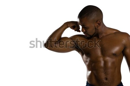 Sin camisa masculina atleta músculos pie Foto stock © wavebreak_media