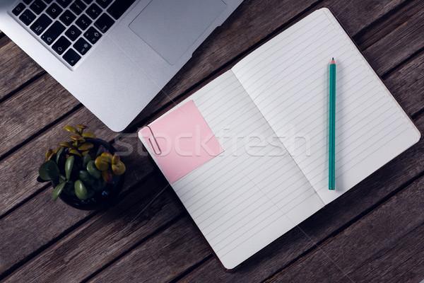 Laptop diario pot impianto Cup caffè Foto d'archivio © wavebreak_media