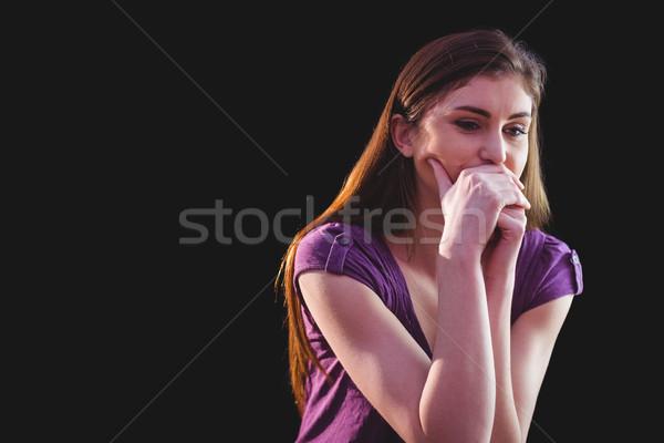 Ongelukkig vrouw denken zwarte triest depressie Stockfoto © wavebreak_media