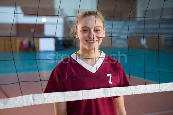 Mosolyog női röplabda játékos áll mögött Stock fotó © wavebreak_media