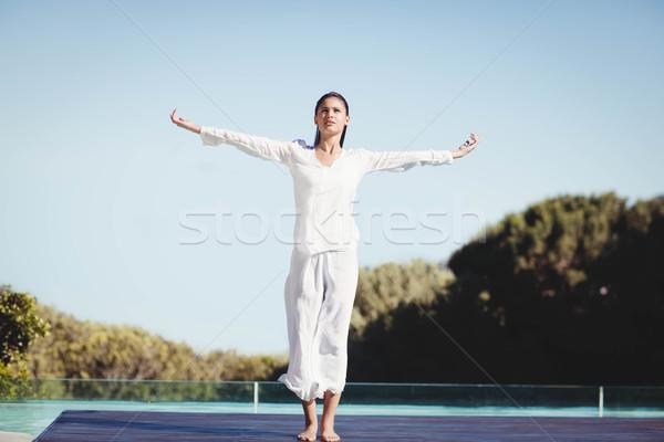 Calme brunette yoga corps fitness beauté Photo stock © wavebreak_media