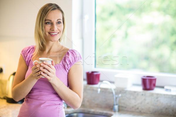 довольно кофе домой женщину дома Сток-фото © wavebreak_media