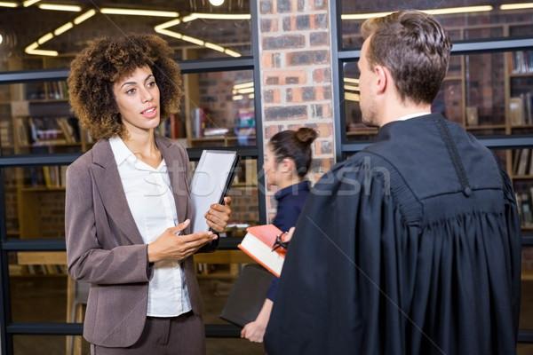 Rechtsanwalt Geschäftsfrau Büro Mann Bildung Gerechtigkeit Stock foto © wavebreak_media