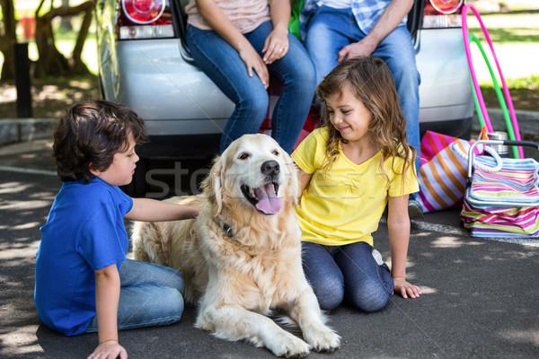 Stock photo: Children ruffling the dogs fur