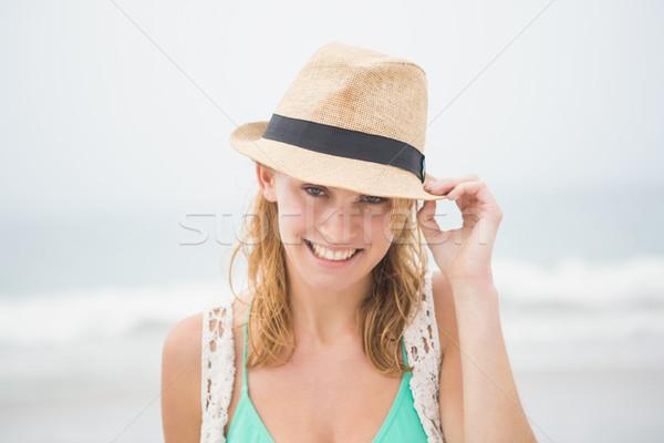 かわいい 麦わら帽子 ビーチ 女性 ストックフォト © wavebreak_media