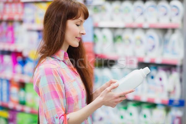 Profil görmek kadın deterjan süpermarket Stok fotoğraf © wavebreak_media