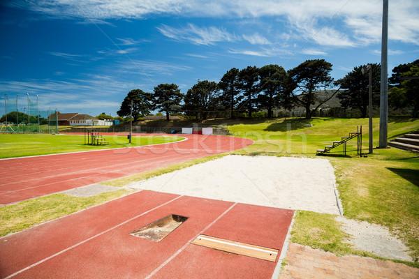 Long jump sand pit on running track Stock photo © wavebreak_media