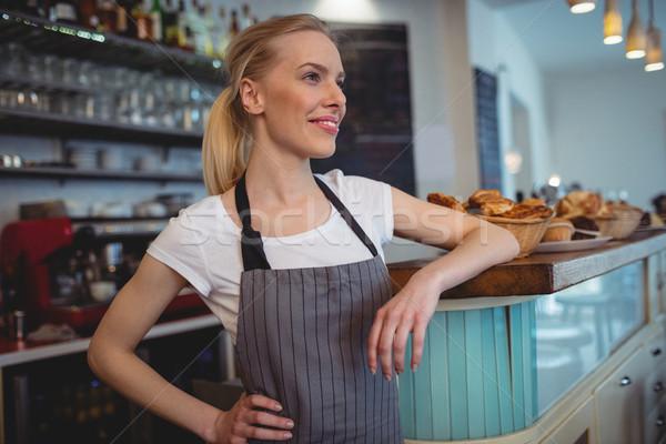 счастливым женщины Бариста Постоянный борьбе кофейня Сток-фото © wavebreak_media