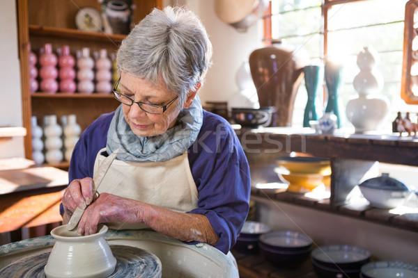 Homme pot poterie atelier art Photo stock © wavebreak_media