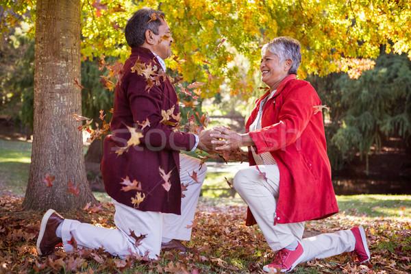 érett pár térdel őszi levelek oldalnézet derűs Stock fotó © wavebreak_media
