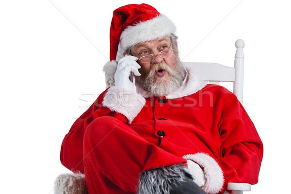 ストックフォト: サンタクロース · 話し · 携帯電話 · 白 · 男 · 冬