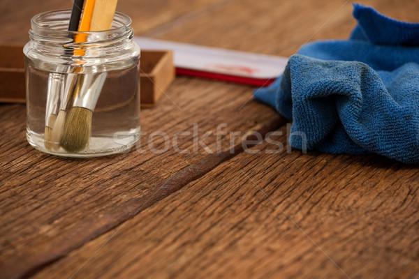 Ecset bögre víz ruha üveg művészet Stock fotó © wavebreak_media