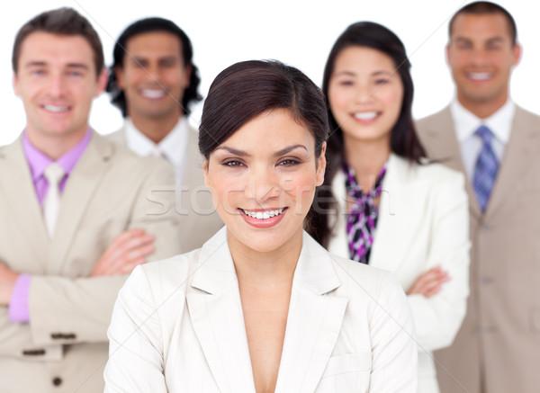 Présentation compétitif équipe commerciale blanche affaires sourire Photo stock © wavebreak_media