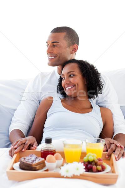 влюбленный пару завтрак кровать семьи продовольствие Сток-фото © wavebreak_media