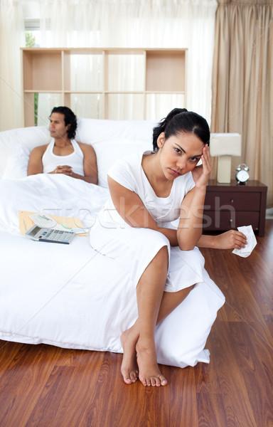 Młoda kobieta w górę chłopak sypialni rodziny miłości Zdjęcia stock © wavebreak_media
