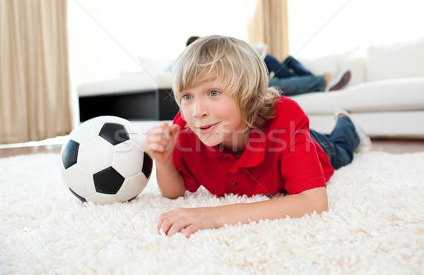 Izgatott fiú néz futball gyufa padló Stock fotó © wavebreak_media