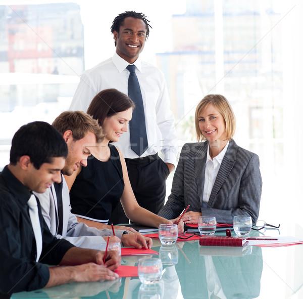 üzletember dolgozik csapat megbeszélés diák asztal Stock fotó © wavebreak_media