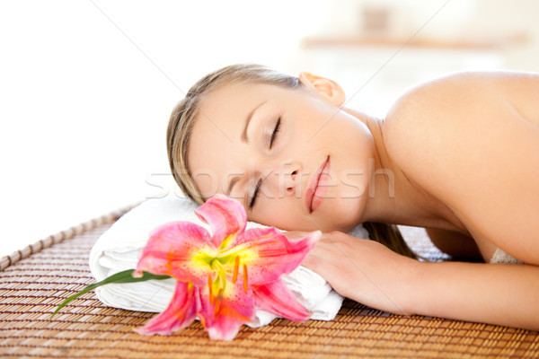 Portrait of a cute woman having a massage in a spa Stock photo © wavebreak_media