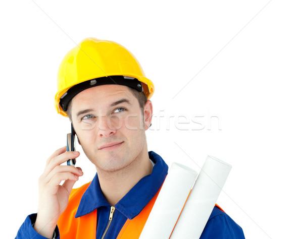 野心的な ワーカー 話し 電話 計画 ストックフォト © wavebreak_media