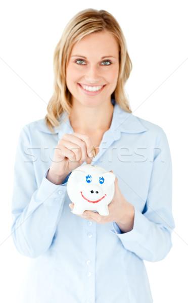 Sorridente empresária dinheiro branco Foto stock © wavebreak_media