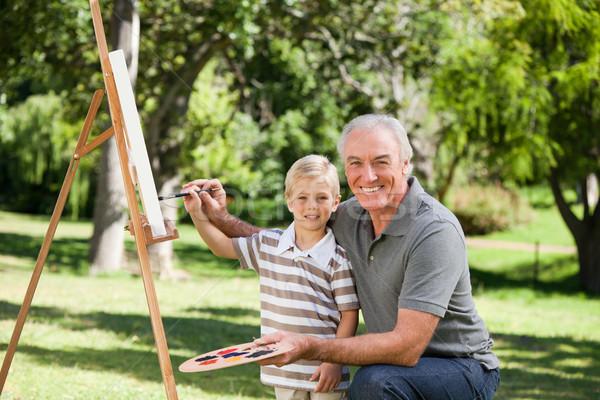Gelukkig grootvader kleinzoon schilderij tuin familie Stockfoto © wavebreak_media