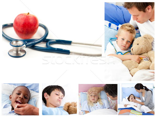 Kolaż chorych dzieci dziewczyna strony twarz Zdjęcia stock © wavebreak_media
