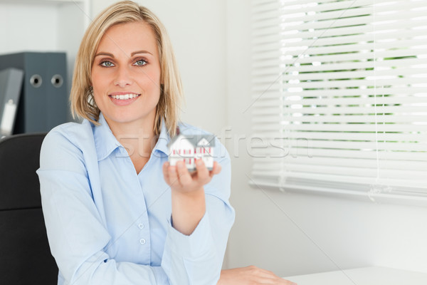 Káprázatos szőke nő üzletasszony mutat miniatűr ház Stock fotó © wavebreak_media