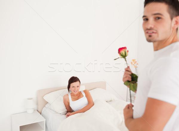 Cute tipo aumentó compañera dormitorio casa Foto stock © wavebreak_media