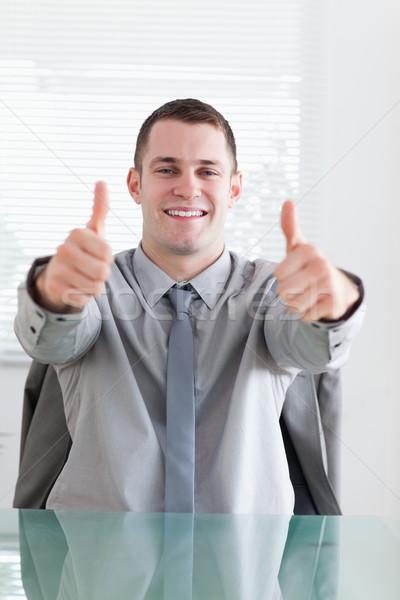 Souriant affaires ok bureau heureux Photo stock © wavebreak_media