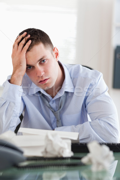 Close up of frustrated businessman being overextended with his accounting Stock photo © wavebreak_media